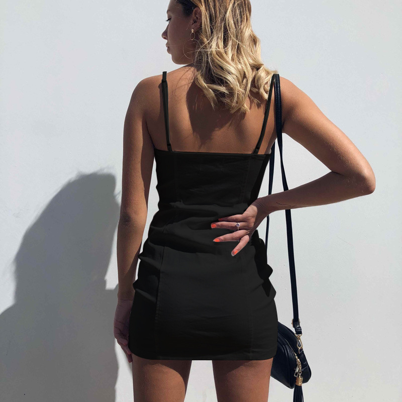 Solid Sleeveless Casual Summer Dress Women Sexy Spaghetti Strap Package Hip Mini Party Dress Fashion New Slim Zip Female Vestido in Dresses from Women 39 s Clothing