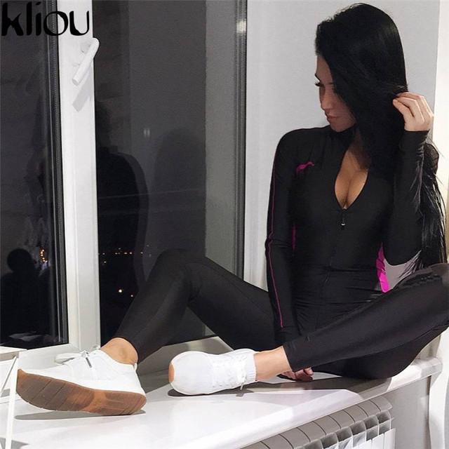 Fluorescent Color Patchwork Full Sleeve Zipper Turtneck Jumpsuit