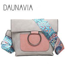 DAUNAVIA Brand Women Bags Shoulder Bag With Colorful Strap Women Messenger Cross body Designer PU leather Fashion High Quality(China)