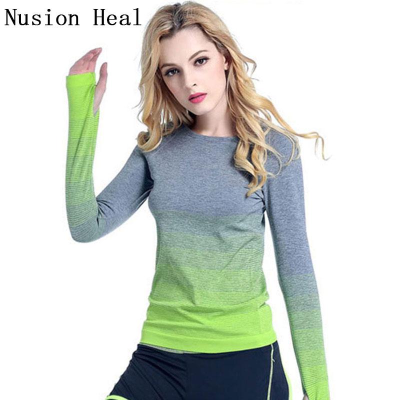 NUSION HEAL Fitness Yoga Top t Shirt Women Quick-Dry Long Sleeve Running Shirt Female Workout Gym Shirts Sport Jacket Women C1