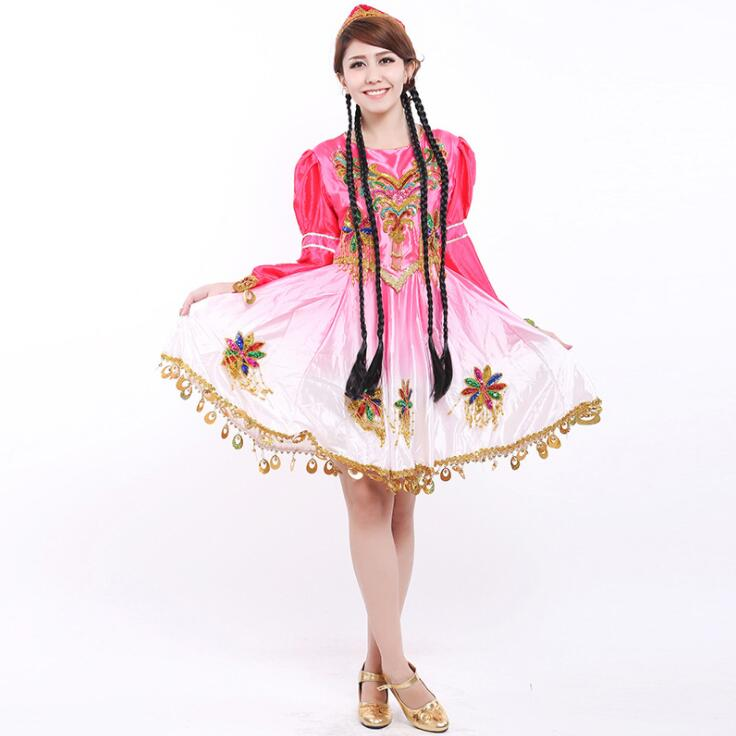 Women national dance costumes performance clothing women s Uygur clothes stage play dress short jingle skirt