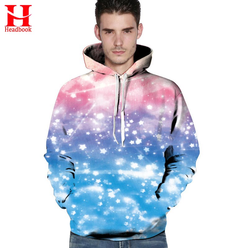 2017 Headbook Space Galaxy Hoodies Men Women Sweatshirts Print Sky Stars Unisex Outerwear Hip Hop Hooded Hoody Pullover