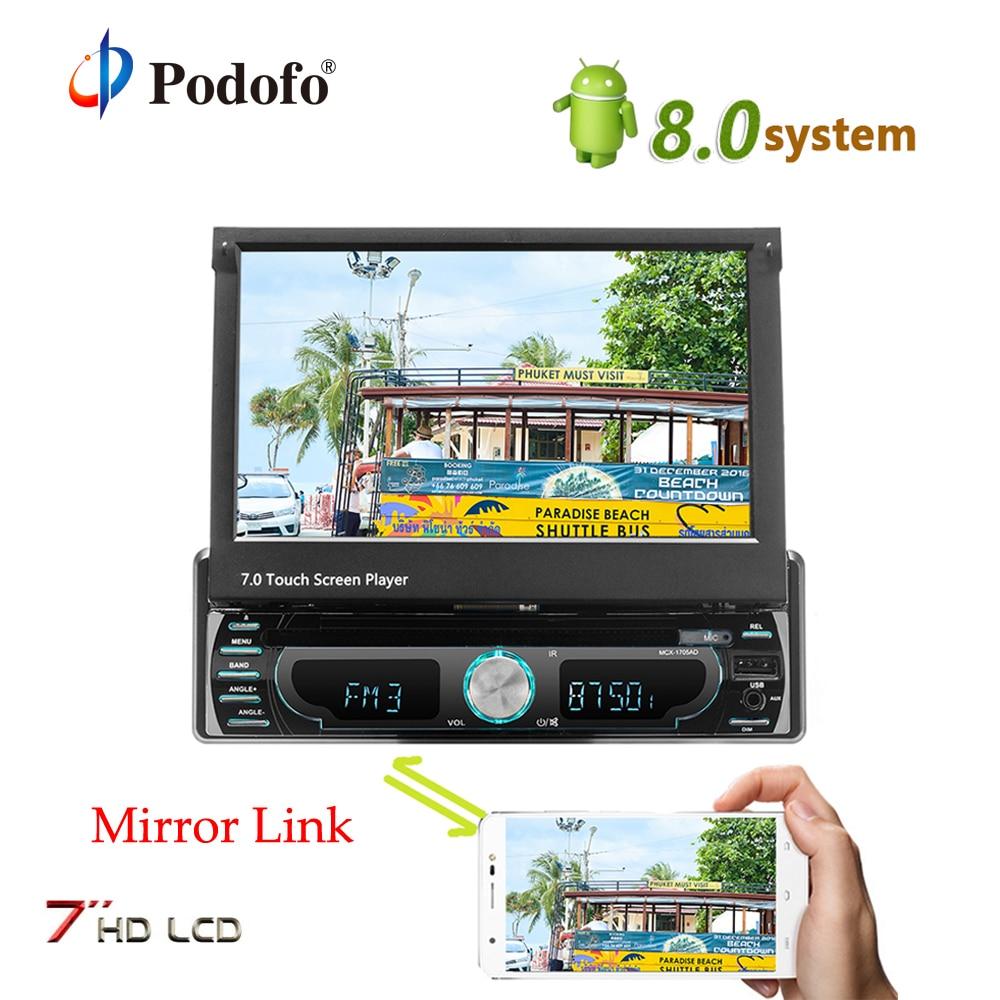 Podofo Android GPS Per Auto Autoadio7 pollici Schermo di Tocco di HD AM FM MP5 Radio Bluetooth USB Specchio Funzione di Collegamento Auto Multimedia lettore