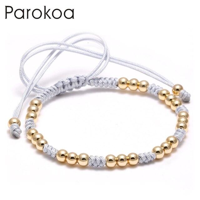 Parokoa Brand Custom Bead Knitted String Beaded Bracelets For Kids Shamballa Bracelet Stainless Steel