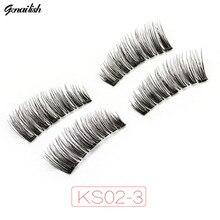 Genailish Magnetic eyelashes 3 magnets Lashes Fake eyelashes comfortable Handmade cilios Popular for Beauty Makeup