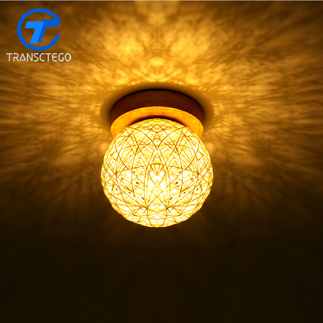 Plafond Lampe Bois Rotin Armure Lampes Pour Salon Chambre Balcon Plafonnier dans Plafonniers de Lumi¨res et éclairage sur AliExpress