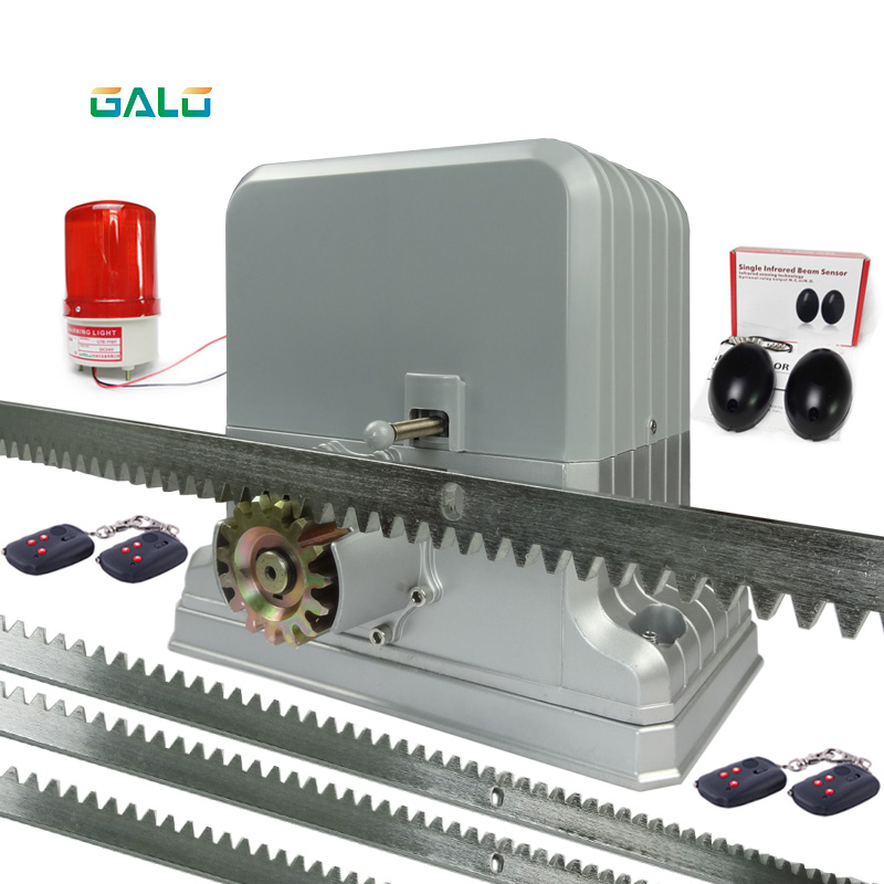 Galo 220V automatic electric slide gate opener operator motor sliding door gate 1800kg with 4m 5m 6m rack rails 1 sensor 1 lamp heavy duty 1800kg automatic sliding gate motor for gate drive with infrared sensor alarm lamp and loop detector