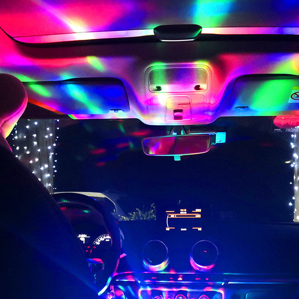 Led-Atmosphere Projector Decoration Car-Interior Rotating-Party Portable Music Mini USB