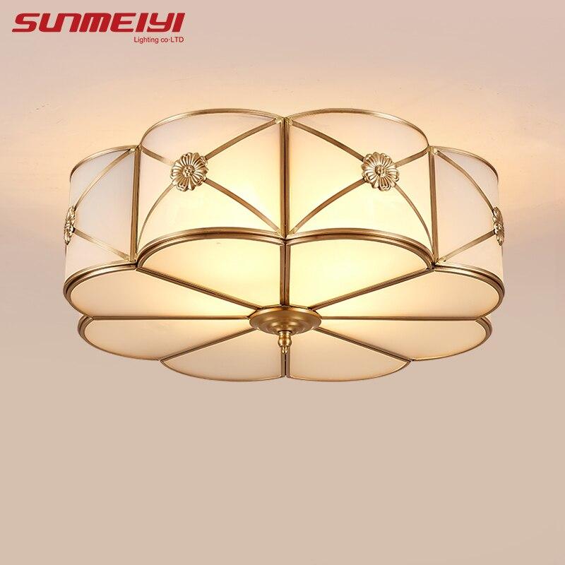 Modern LED Ceiling Lights Foyer Copper lamparas de techo vintage E27 Lamp Ceiling For Living room