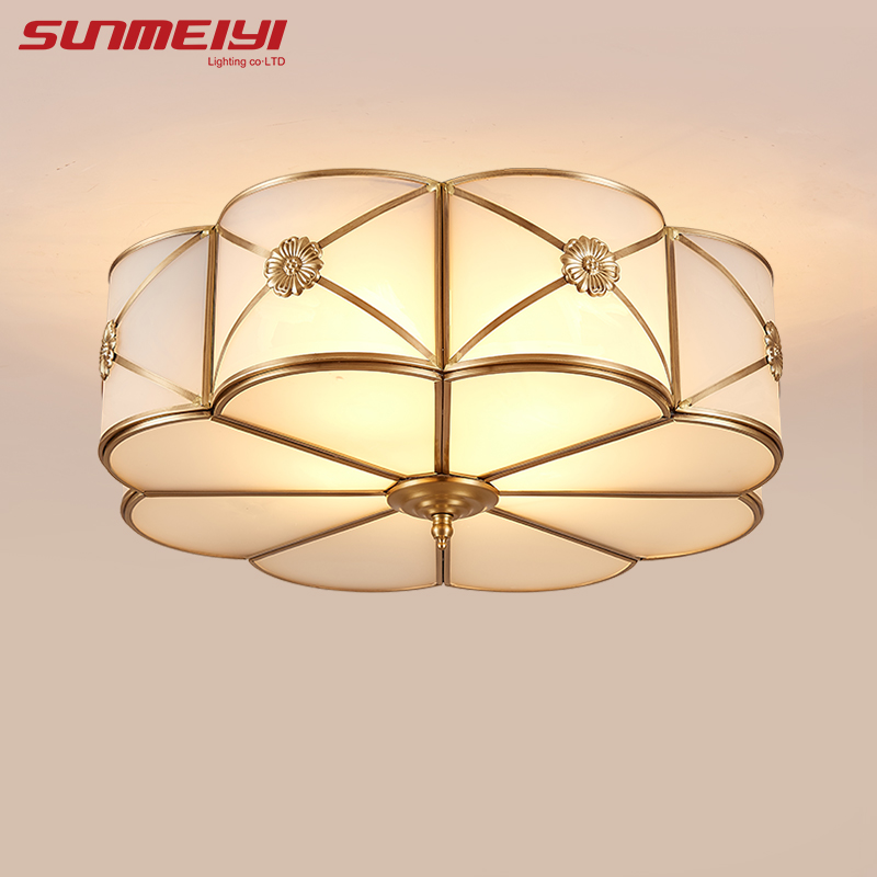 Modern LED Ceiling Lights Foyer Copper lamparas de techo vintage E27 Lamp Ceiling For Living room Bedroom Home Lighting iwhd led vintage ceiling lights for living room lamp home lighting fixtures lamparas de techo