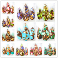 2017 NEW YUTENG 35x15x5mm50x20x6mm Gold Copper Bornite Stone Teardrop Pendant bead 1 Set Fit DIY Necklace jewelry making H03482