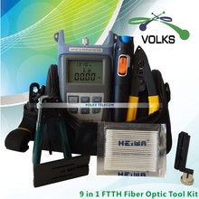 9 In 1 Fiber Optic FTTH Tool Kit with Optical Power Meter and 10mW Visual Fault Locator