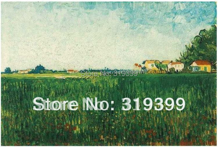 Linen Canvas Oil Painting,Farmhouses in Wheat Field Near Arles by Vincent Van Gogh,100%handmade,Free DHL Shipping,Musuem quality