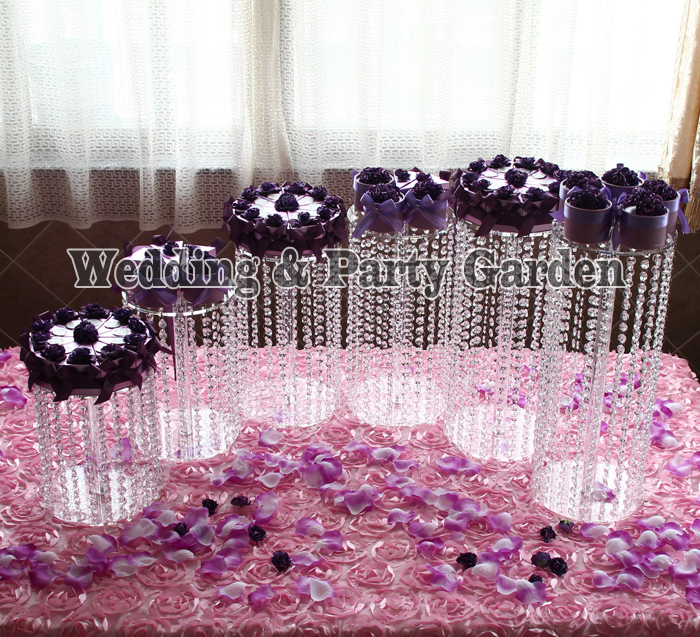 6 pièces clair cercle rond gâteau Stand mariage anniversaire affichage CupCake Rack noël approvisionnement Happyshopping D20 ~ 35, H45 ~ 10