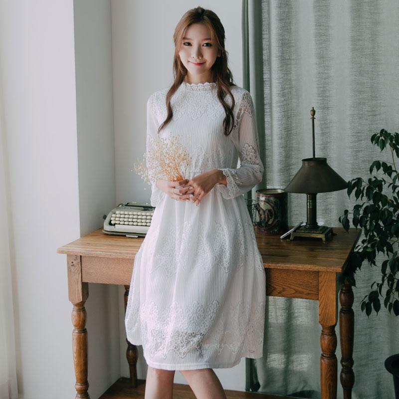 Top Fashion Solid Casual Mid-Calf Straight Vår Höst Ny Modes Moders Klänning Klänningar Hollow Out Lace Long Sleeve