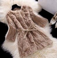 Hot Sale Real Rabbit Fur Coat Medium Long Slim O Neck Rex Rabbit Fur Coat