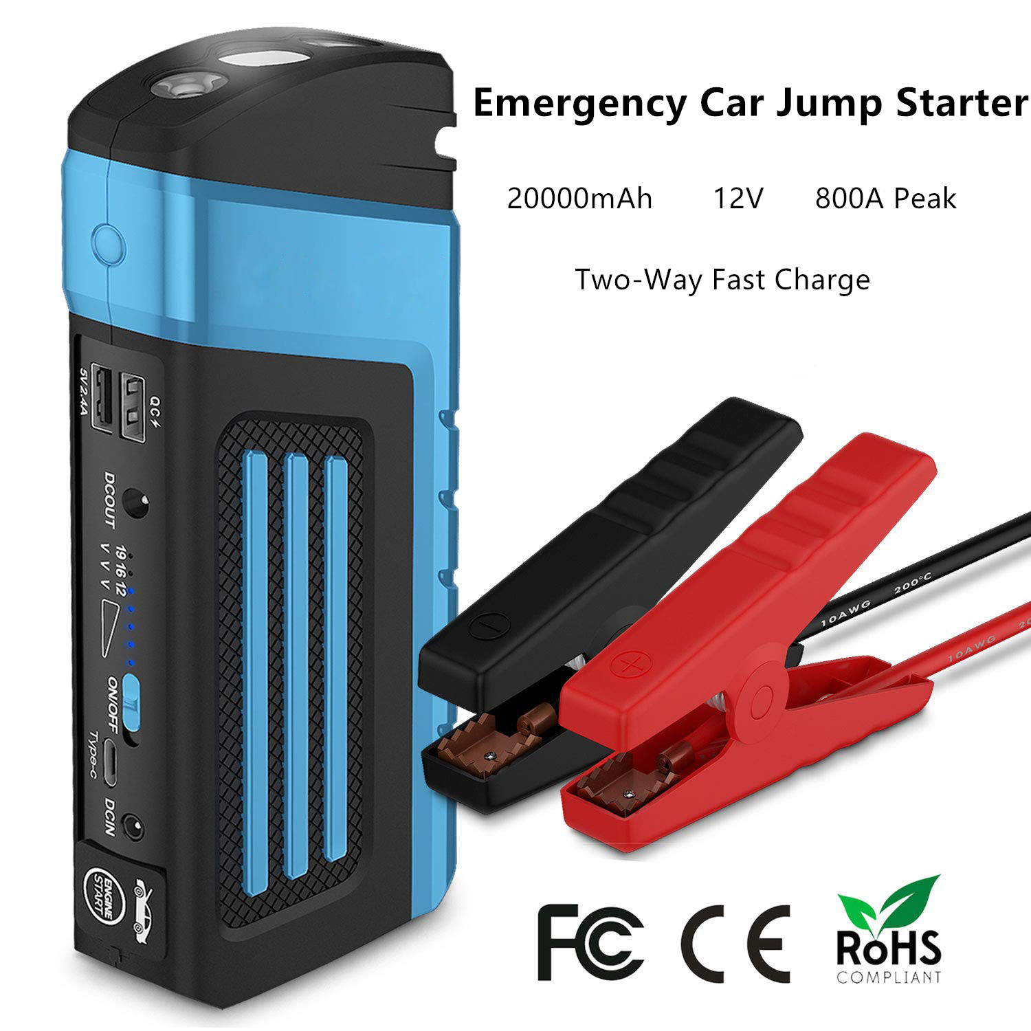 Multi Function Portable 800A Starting Device 20000mAh Car Jump Starter Emergency Car Charger For Car Battery