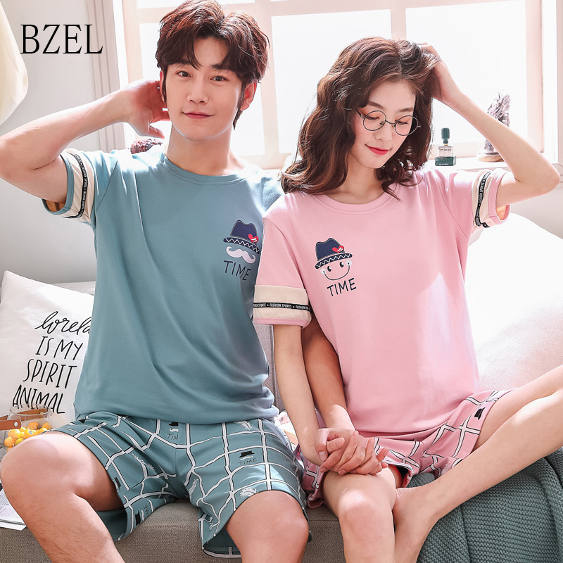 BZEL 2019 New Fashion Lovers Pajamas Boyfriend Girlfriend Short Sleeve Casual Nightwear Plaid Shorts Couple Clothes Sleep Lounge