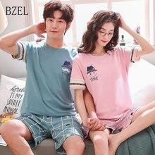 BZEL 2019 yeni moda severler pijama erkek arkadaşı kız arkadaşı kısa kollu Casual gecelik ekose şort çift elbise uyku salonu