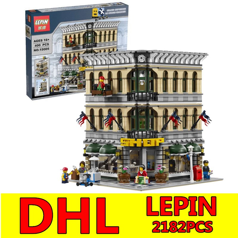 2017 DHL LEPIN 2182Pcs Grand Emporium Model Creator City Street Building Kits Blocks Bricks Toy Compatible Children Toy Gifts new lepin 20054 4237pcs creator camper van model building kits bricks toys compatible gifts 10220