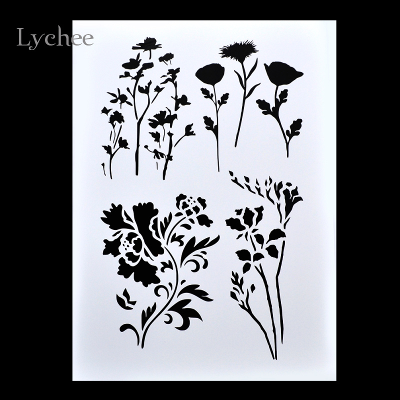 Lychee Scrapbooking Tool Card DIY Album Masking Spray Painted Template Drawing Stencils Laser Cut Templates Gardening Flower