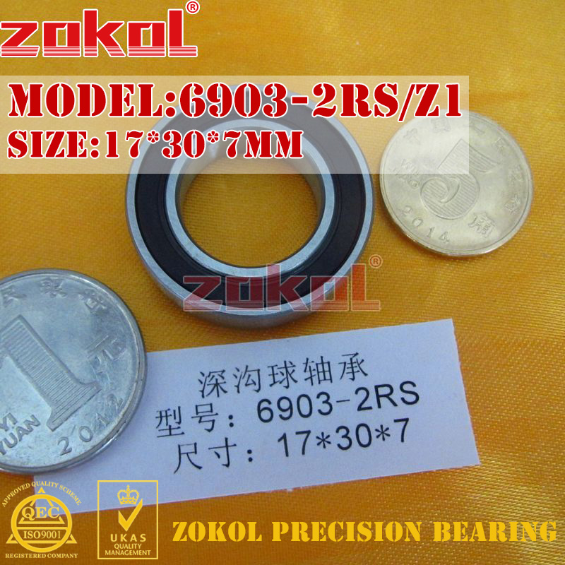 ZOKOL 6903RS bearing 6903 2RS Z1 1000903 (61903/Z1) 6903-2RS/Z1 Deep Groove ball bearing 17*30*7mm zokol bearing 608 2rs z1 miniature deep groove ball bearing 8 22 7mm