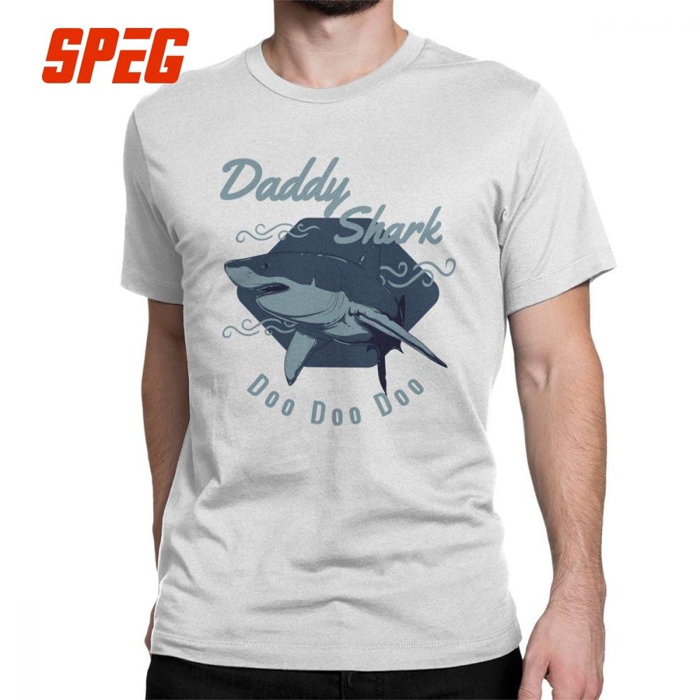 8c1e2dc96 Divertido tiburón papá Doo Vintage T camisa los hombres tiburón bebé  canción Tops de manga corta Camisetas de algodón de Cuello O Camiseta 4XL  5XL 6XL