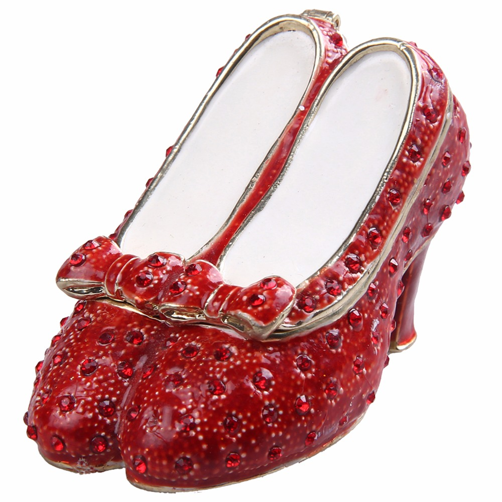 Free shipping wizard of oz gifts ruby slipper The Crystal Red Shoes jewelry box trinket box metal vintage decoration box gifts-in Jewelry Packaging ...