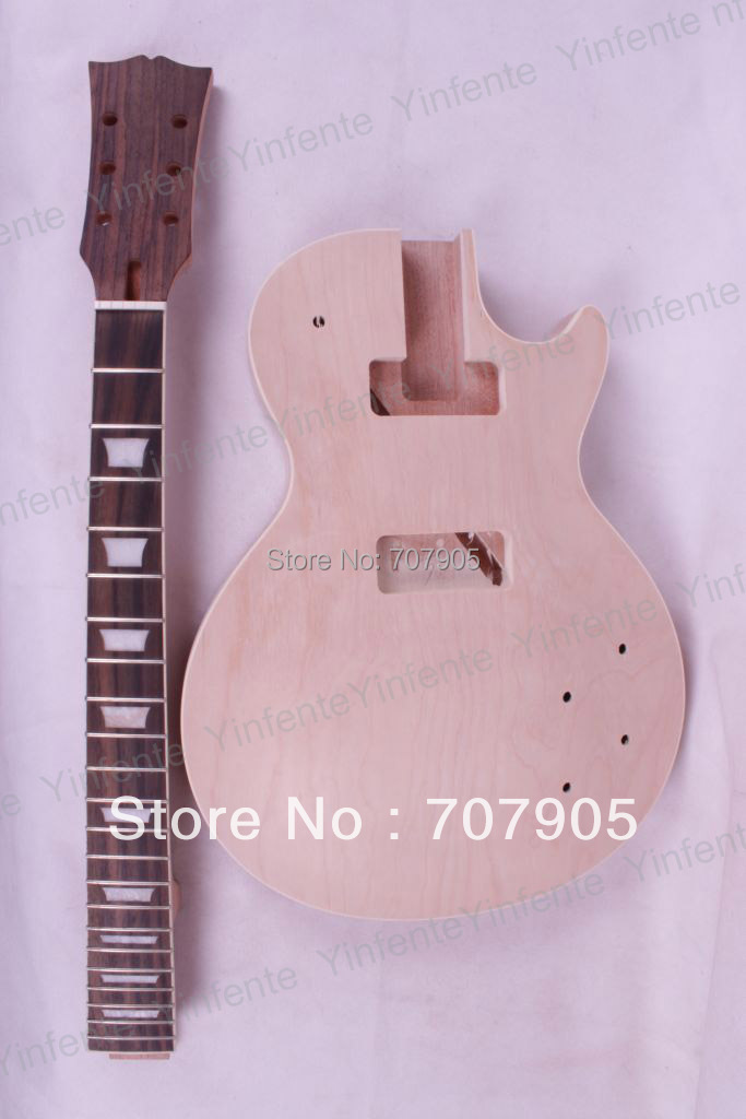 New 1 set Unfinished electric guitar neck set in&Body Mahogany Maple Veneer free shipping new unfinished left hand electric guitar in natural color with mahogany body diy your guitar foam box f 1195