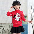 autumn and winter 3~16 girls print sweaters wool pattern sweater children cartoon clothing baby girl Hedging Knit rabbit sweater