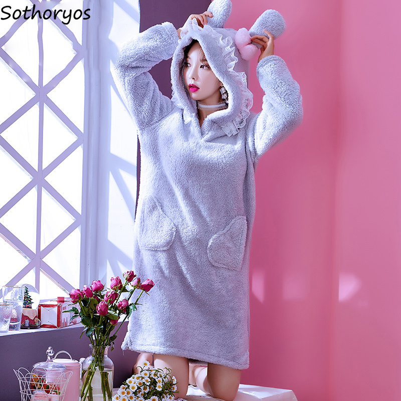 a79d6b45cb Detail Feedback Questions about Nightgowns Women Hooded Kawaii Plus Velvet  Thicker Warm Long Sleeve Trendy Pockets Female Sleepshirts Korean Females  Student ...