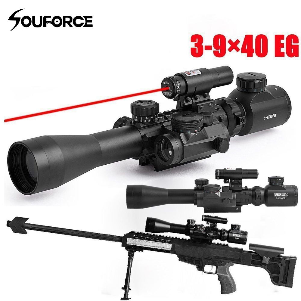 3 9X40EG Scope Combo Illuminated Tactical Rifle Scope with Red Laser Holographic Dot Sight for Hunting