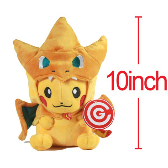 25cm Quality Pocket Monster GO Plush Toy Peluche Pikachu Cosplay Charizard close&open mouth Stuffed Plush Cartoon Toy Kids Gifts