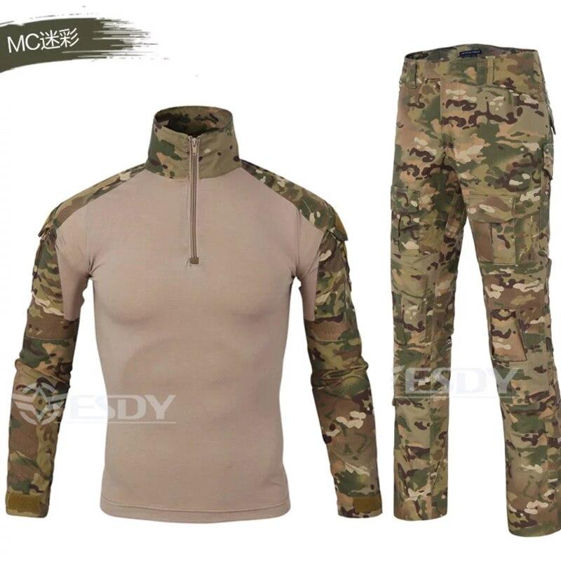 Nouveaux hommes militaire tactique costume hommes qualité respirant Camouflage vêtements pour la chasse en plein air Trekking Combat chemise Cargo pantalon