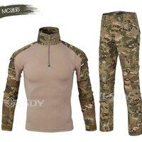 Novos homens militar tático terno dos homens de qualidade respirável camuflagem roupas para a caça ao ar livre trekking combate camisa calças carga|Roupas de camuflagem p/ caça| |  -