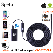 8MM Wifi Endoscope Camera Android 720P Soft Cable Iphone Borescope Waterproof Endoscopic Pipe Camera Snake Camera Car Inspection