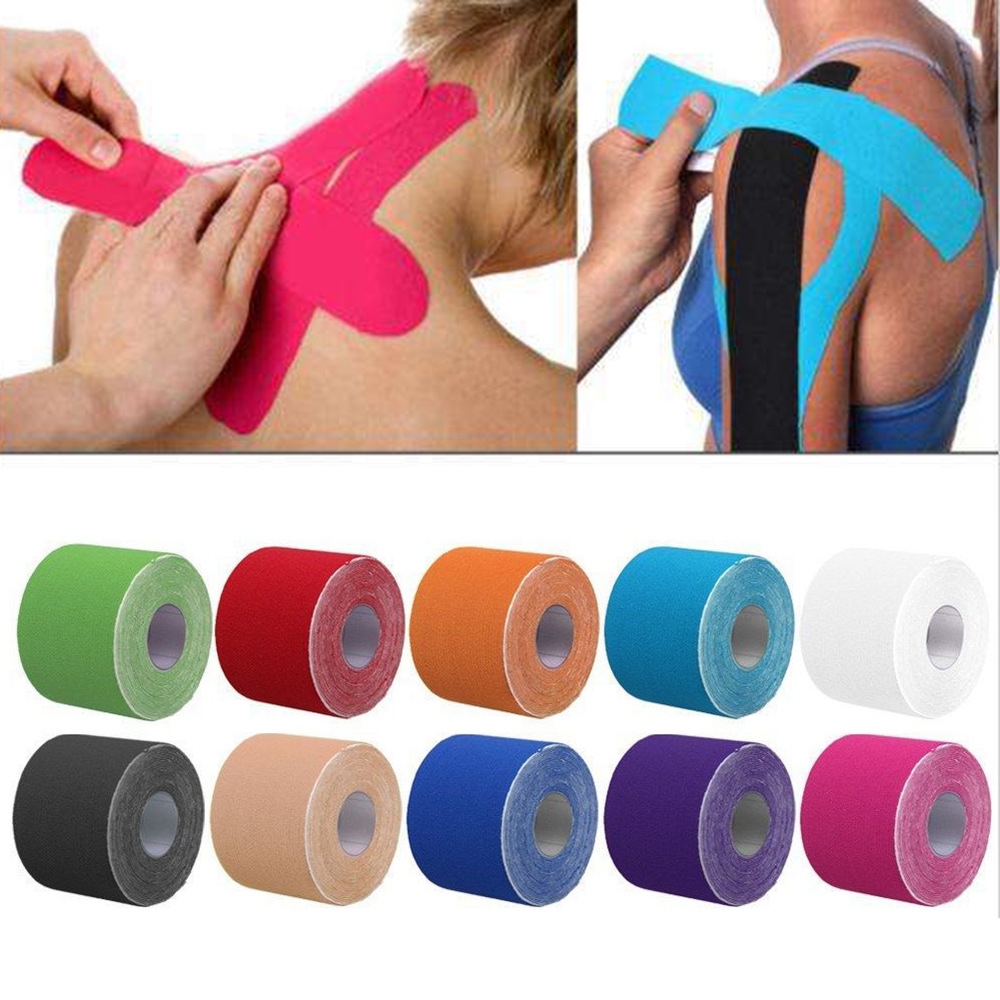 5X5 Cm Sports Tape Acrylic Cotton Elastic Adhesive Muscle Bandage Care Physio Strain Injury Support Movement Muscle Can Be Affix