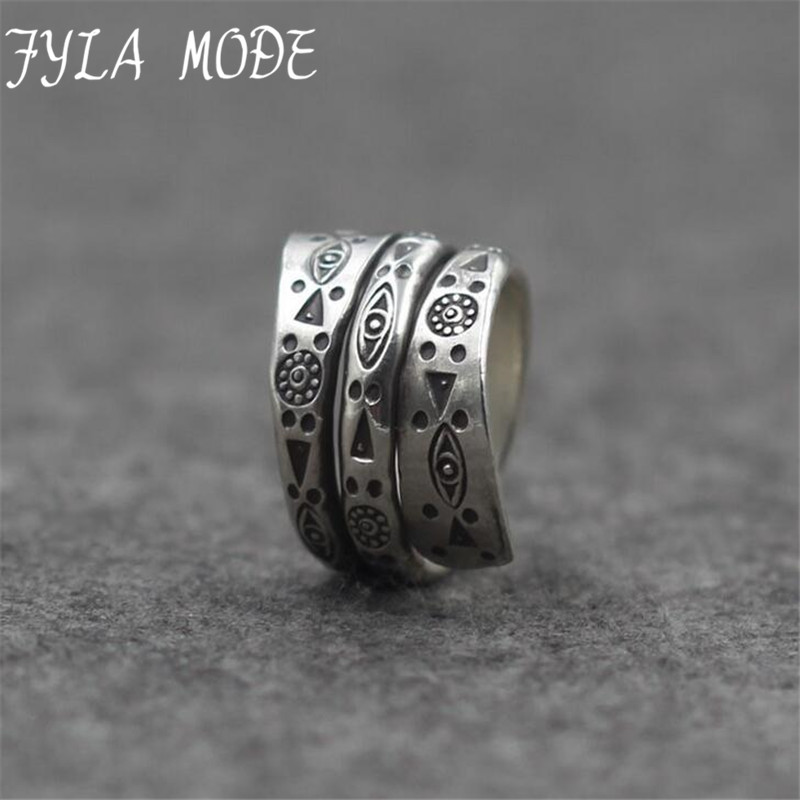 Fyla Mode Authentic 925 Sterling-Silver-Jewelry Wedding Ring Punk Charm MultiLayers Adjustable Carved Ring For Women Bague Femme