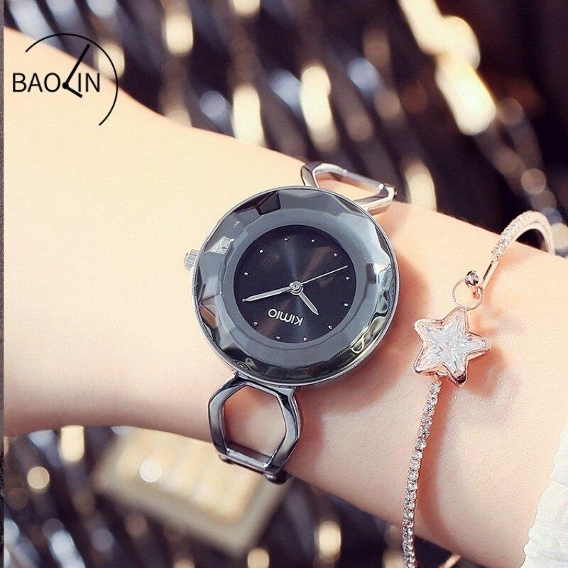 KIMIO volante platillo forma cristalino negro señoras pulsera reloj - Relojes para mujeres