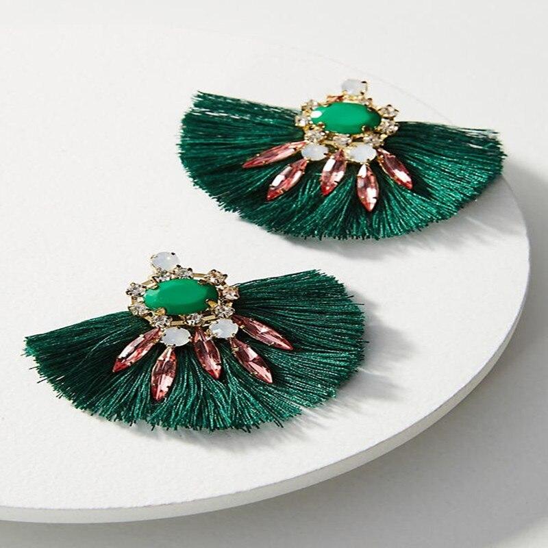 Dongmu jewelry 2017 new bohemian popular acrylic drill tassel earrings long ladies fine accessories Black Friday gift