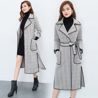 2017 autumn new high-quality fashion loose women lapel long section lattice pattern waist belt long dress style coat coat   A503