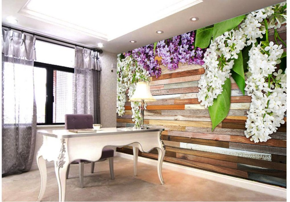 Home Decoration Lilac Wood Carvings Bathroom 3d Wallpaper
