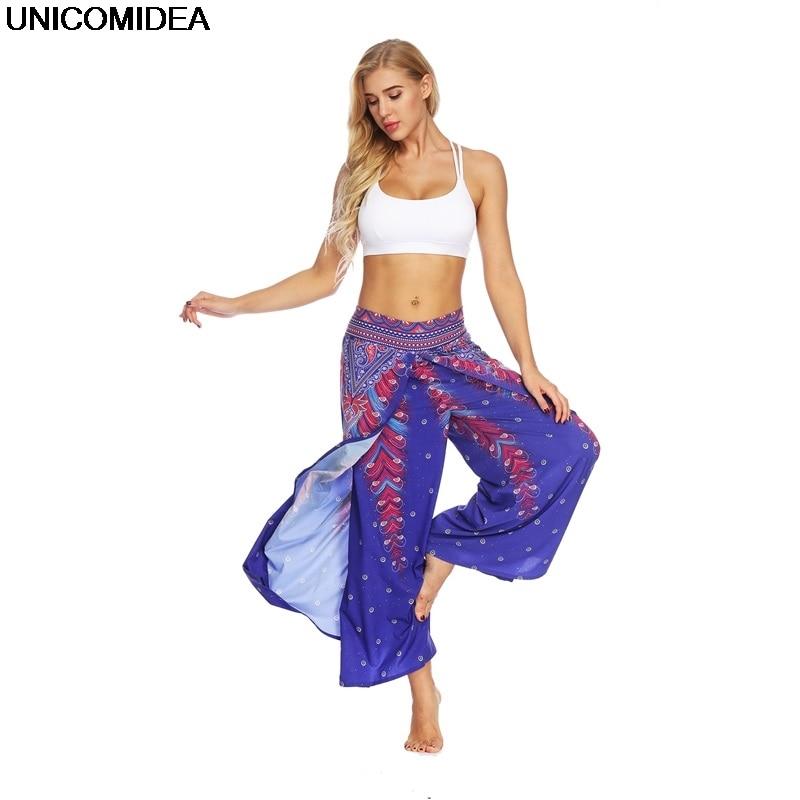 High Split Wide Leg Pants Women Summer Beach High Waist Trousers Chic Streetwear Pants Capris Femme 3D Print Floral Ethnic Pants