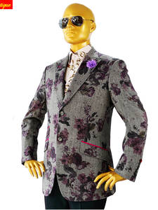 Bespoke-Suits Jacket--Pants Slim-Fit Custom Grey Wool Floral Tailor-Made Business-Designer