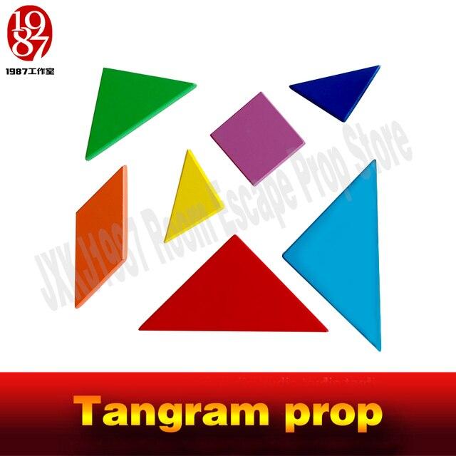 Tangram-accessoire pour la salle jeu dévasion   Les aventuriers, collecter toutes les couleurs, pièces pour figer les indices de puzzle et déverrouiller la chambre