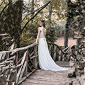 Ivory Bohemian Wedding Dress Beautiful Lace Boho Wedding Gowns Cap Sleeves Backless Gypsy Wedding Dress 2017 Vestidos de Novia