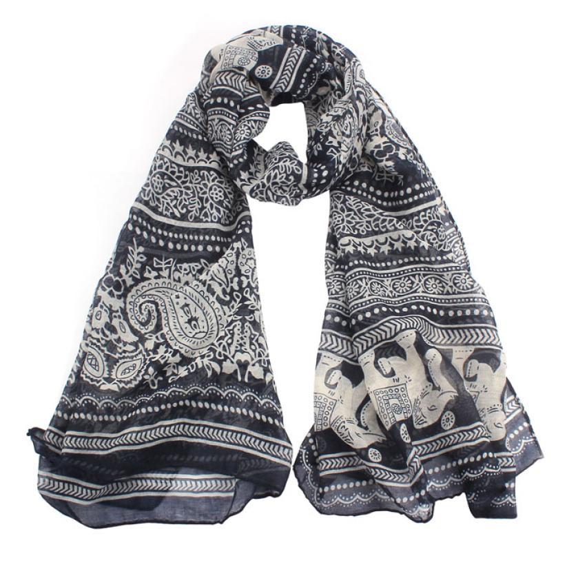 snowshine YLI New Ladies Neck Stole Elephant Print Long Scarf Shawl Wrap Pashmina