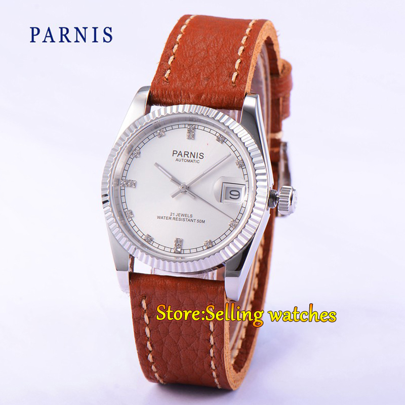 Parnis 36mm White dial date Luminous sapphire glass leather strap 21 jewels MIYOTA Automatic movement Men's watch 40mm parnis white dial ceramic bezel date sapphire glass luminous rubber strap 21 jewels miyota automatic movement men s watch