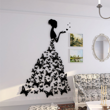 Butterfly Bride 3D wall sticker Wedding room decorations Creative Crystal Acrylic Living bedroom TV background wallpaper