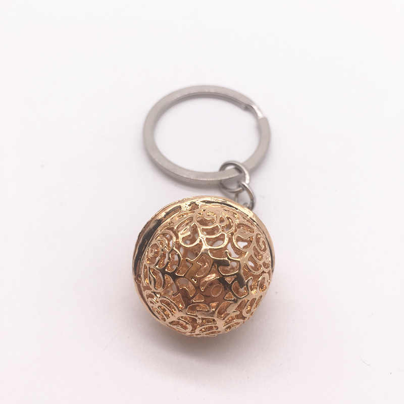 Nova moda ouro rosa pequeno sino chaveiro diy metal corrente carro chaveiros pingente chave